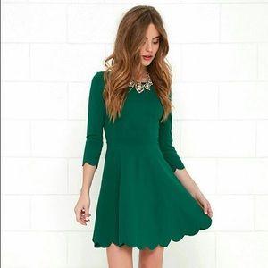 7fbea08b74 Lulu s Emerald Scalloped Skater Dress